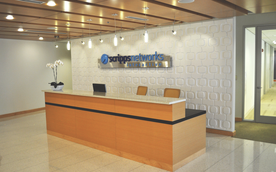 Wooden welcome desk in corporate office