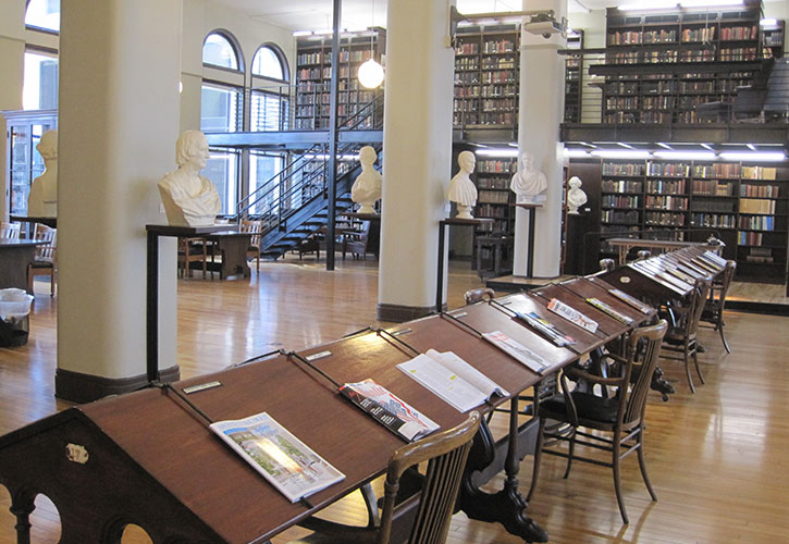 Mercantile library reading desks