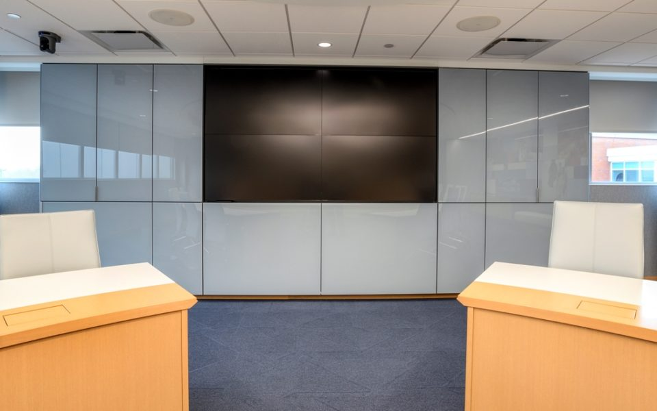 Conference room with large screen for presentations