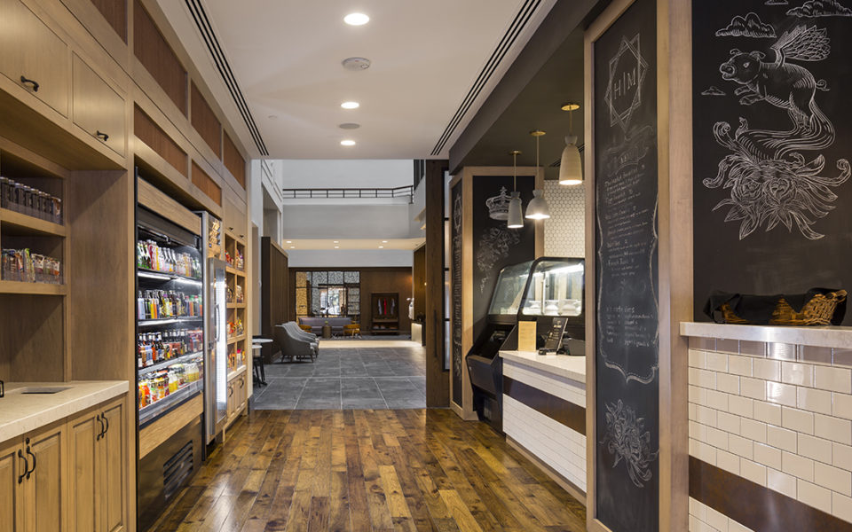 Market-style eatery with custom shelves