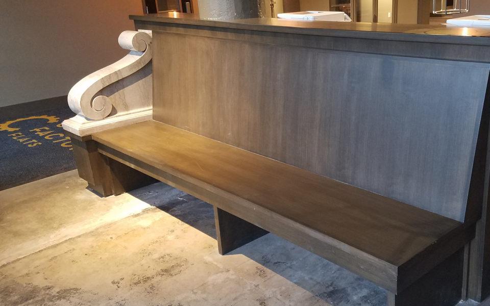 Crane Factory Flats Interior statement wooden bench