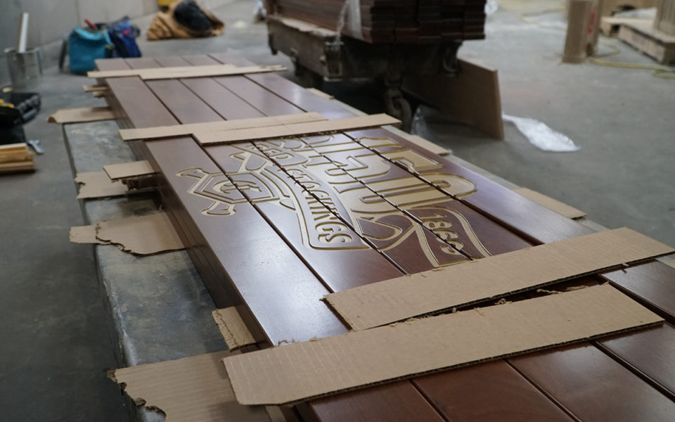 working on commemorative reds benches
