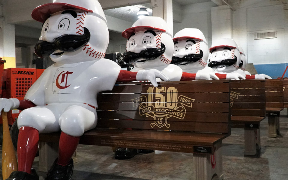 row of commemorative reds benches