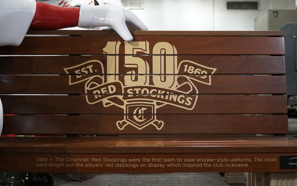 detail of commemorative reds benches