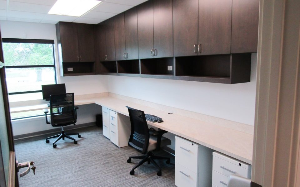 picture of staff work area cabinets