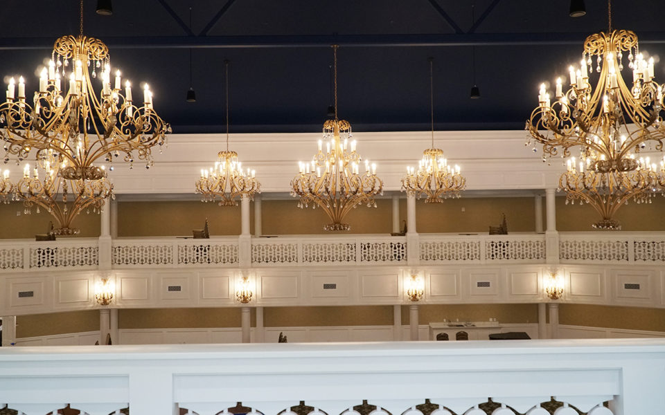 Chandeliers and railing