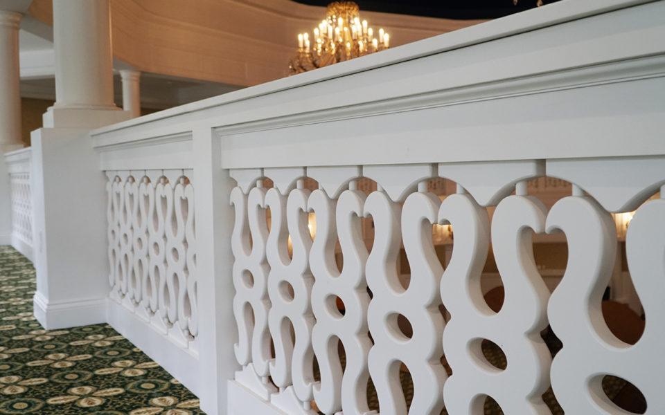 Detail of custom railing at Eichelberger Pavilion