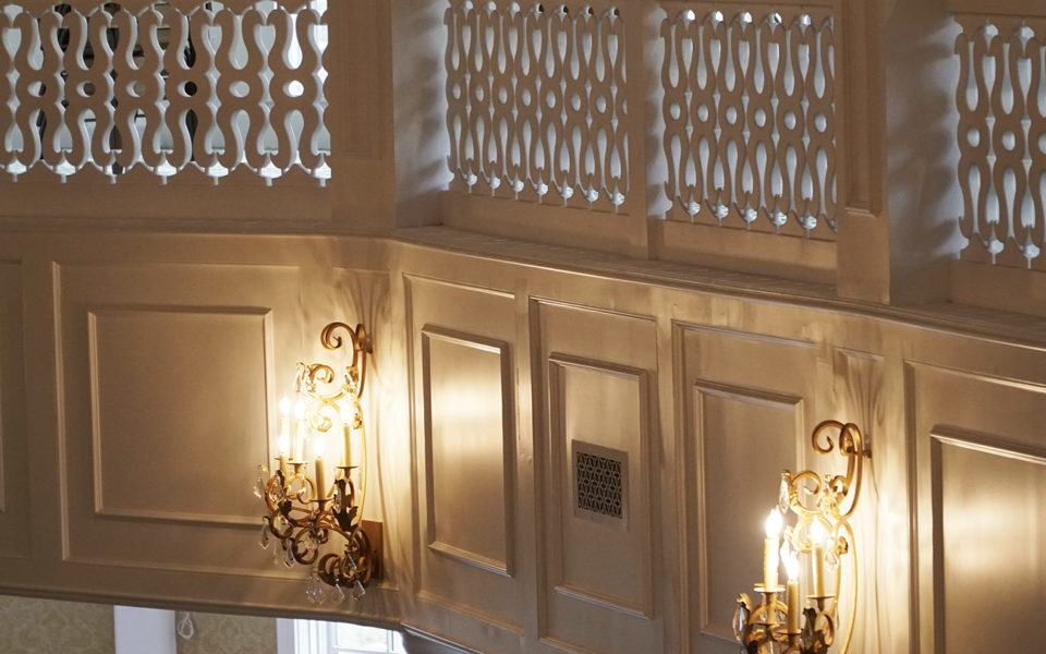 Detail of lights and custom railing at Eichelberger Pavilion