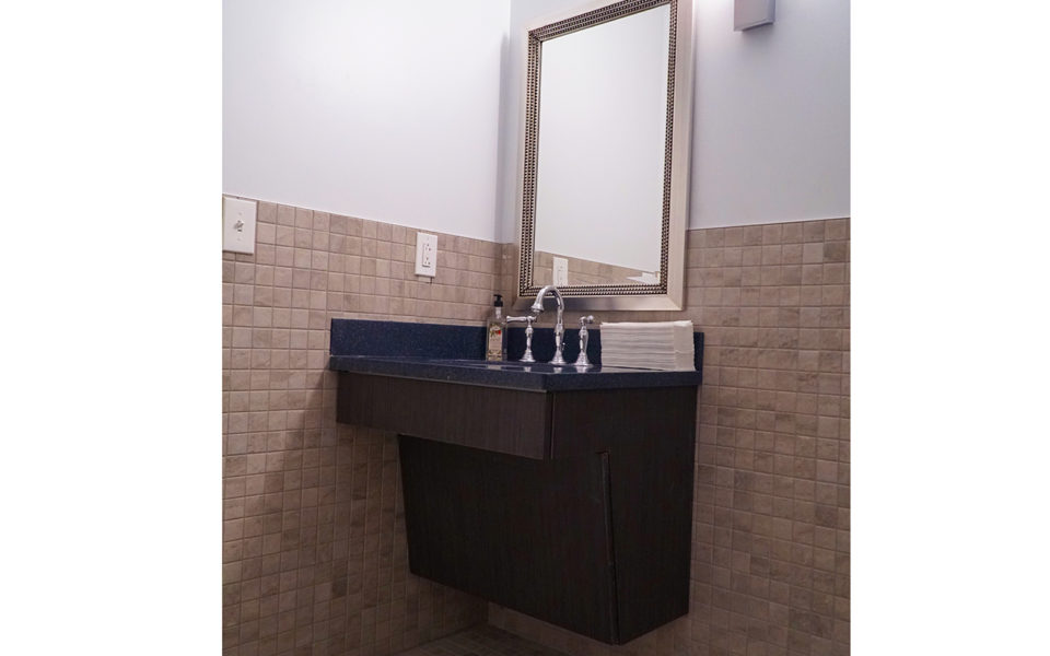 Bathroom vanity at Carillon Park event space